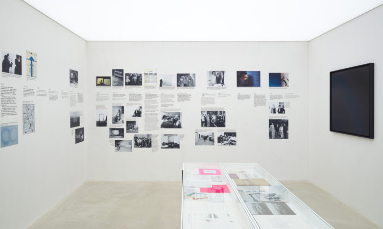 Installation view of Jef Verheyen's historical timeline during the exhibition at Kanaal (2018)