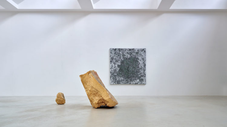 Installation view of works by Bosco Sodi at Axel Vervoordt Gallery