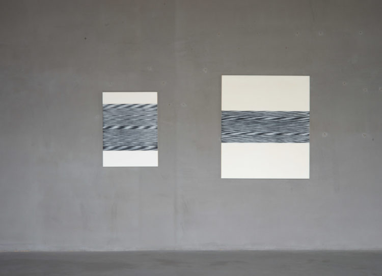 Left: 'Fluktuation', 1965, Oil on canvas, 95 x 70 cm; Right: 'Untitled', 1959, Oil on canvas, 130 x 110 cm