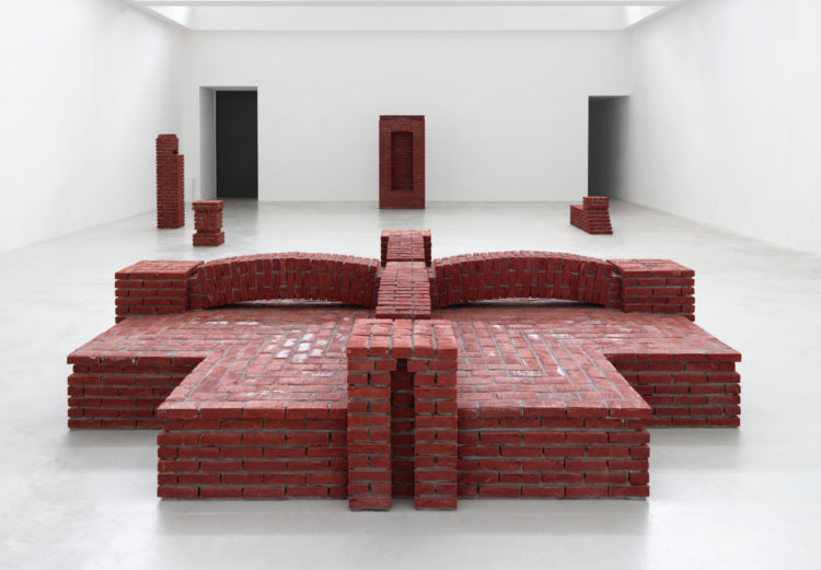 Installation view of 'London'by Per Kirkeby during 'Brick Sculptures' at Axel Vervoordt Gallery