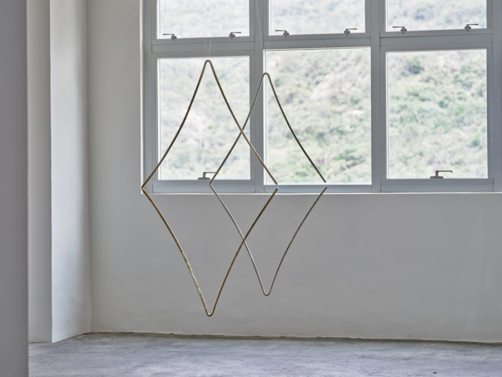 "Germaine Kruip (°Castricum, 1970), FRONT: ""1.618 Rhombus, Brass (Thein n°3634)""/ REAR: ""1.618 Rhombus, Silver (Thein n°3611)"", 2021, 150 x 75 x 2 cm"