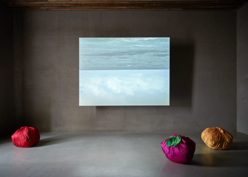 Installation view of 'Bottari - Alfa Beach' by Kimsooja during exhibition 'Planted Names' at Axel Vervoordt Gallery