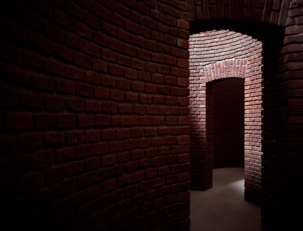 Installation view of 'Nordhorn' by Per Kirkeby during 'Brick Sculptures' at Axel Vervoordt Gallery