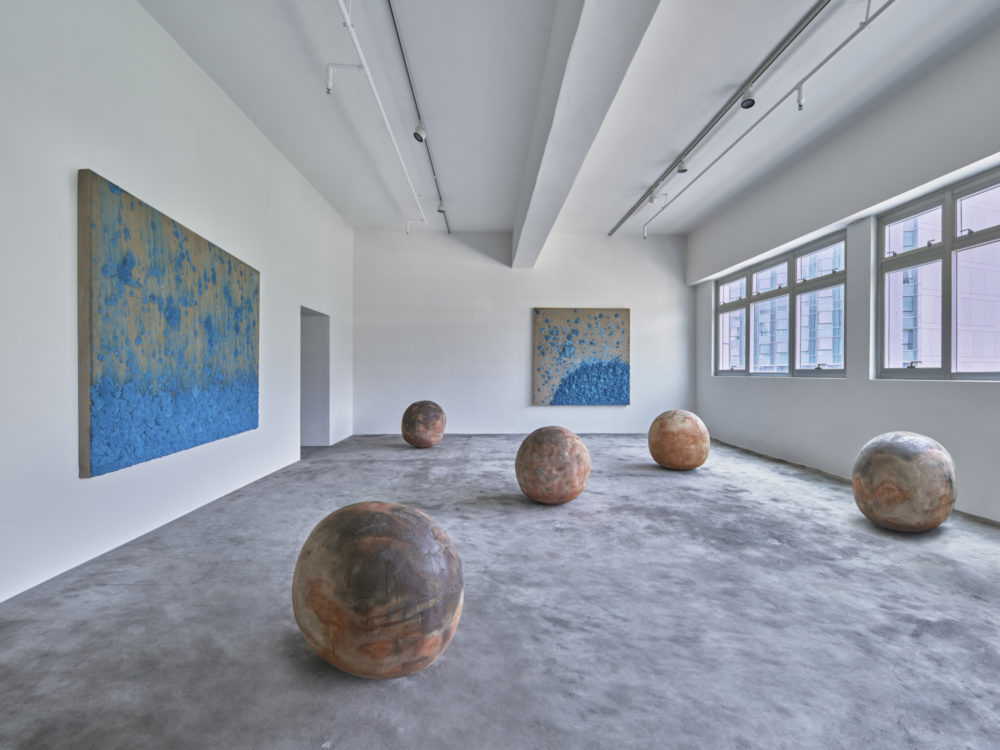 Installation view of 'A Thousand Li of Rivers and Mountains' by Bosco Sodi at Axel Vervoordt Gallery Hong Kong