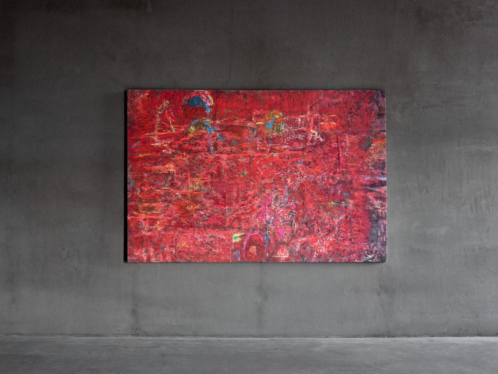 Les Belles Idées reçues (sans titre), rouge, 2021, Mixed media on canvas, 163,5 x 246 cm