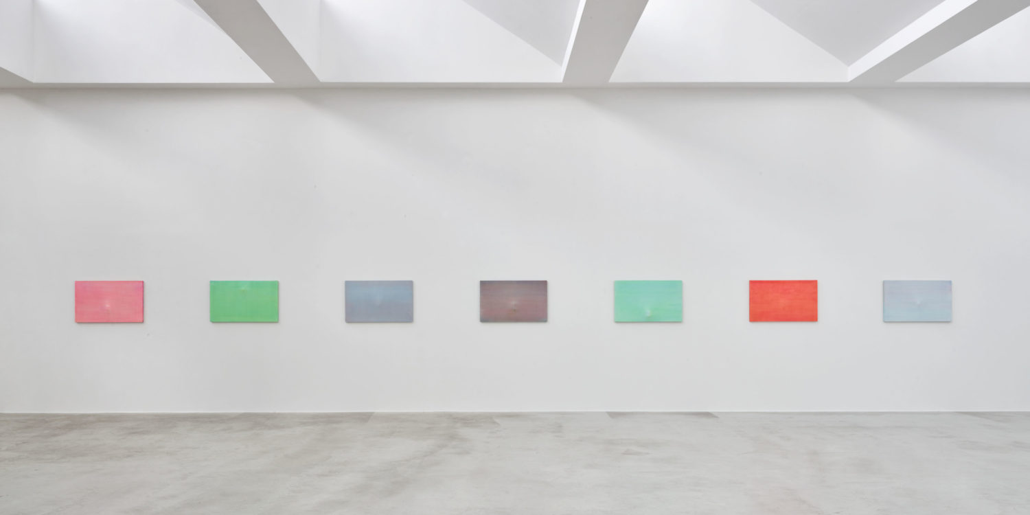 7 works titled 'Nebel', 2020, Acrylic on one cotton canvas stretched on metal / wooden frame, 56 x 91,5 cm