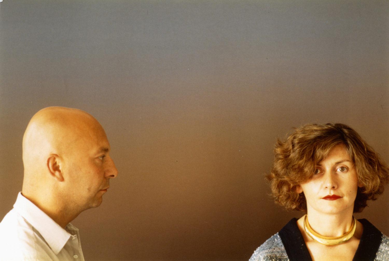 "Axel and May pose in front of Jef Verheyen's, ""Urbino"""