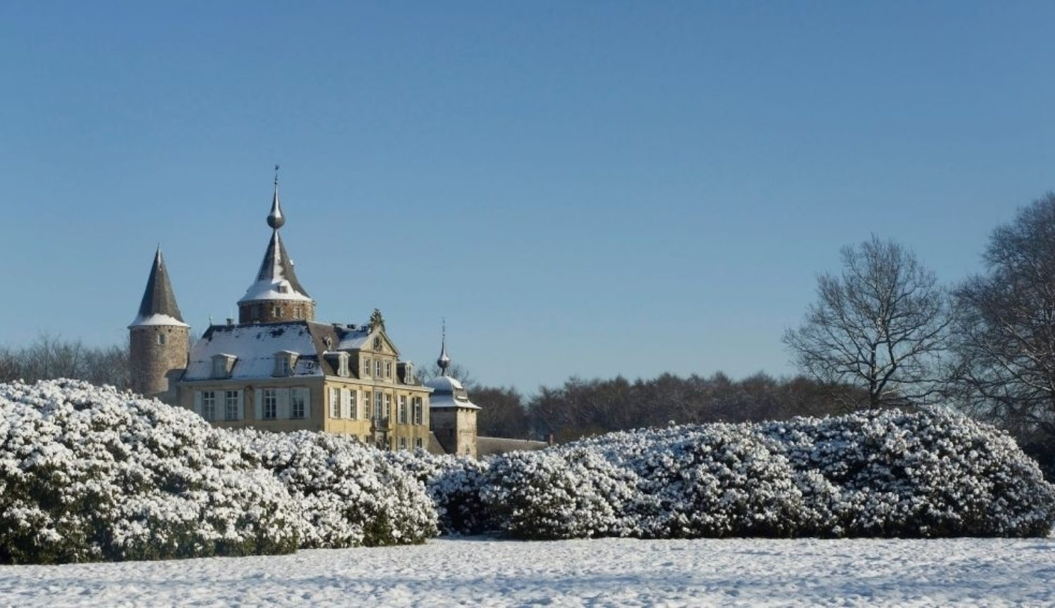 The snow-covered park in winter on the grounds of the Castle of 's-Gravenwezel